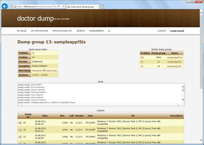 Dump group main page